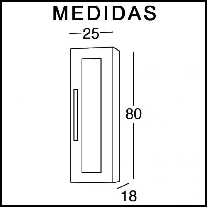 Medidas Mueble Auxiliar de Baño de Colgar Anabel 80 cm.