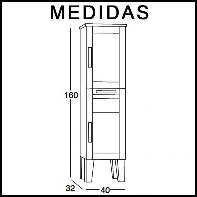 Medidas Mueble Auxiliar de Baño de Pie Anabel 160 cm.