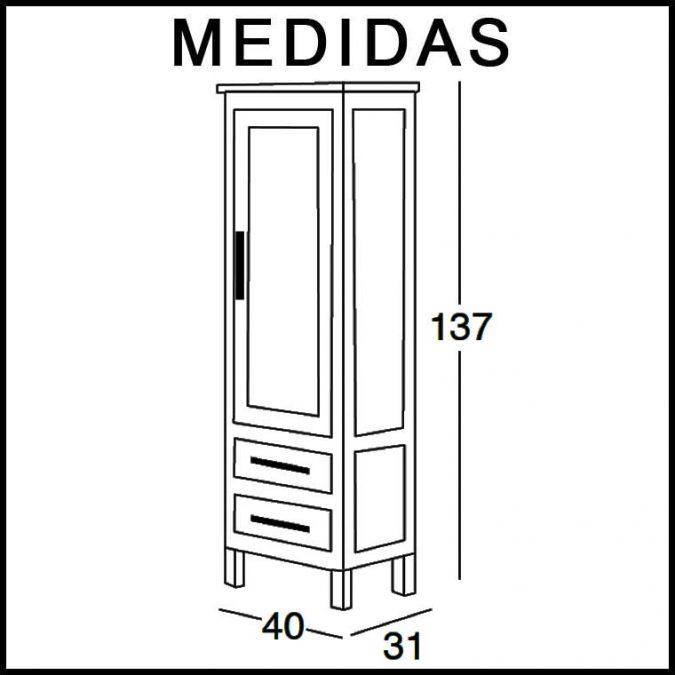 Medidas Mueble Auxiliar Baño de Pie 137 cm. Beas