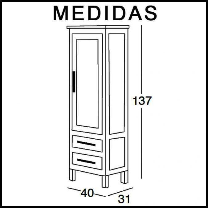 Medidas Mueble Auxiliar Baño de Pie 137 cm. Cardeñas