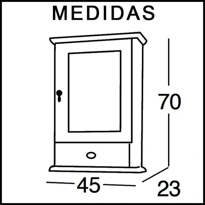Medidas Mueble Auxiliar Baño de Colgar Clásic