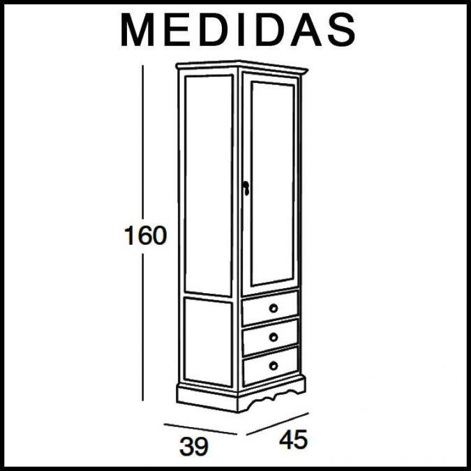 Medidas Mueble Auxiliar Baño de Pie Clásic