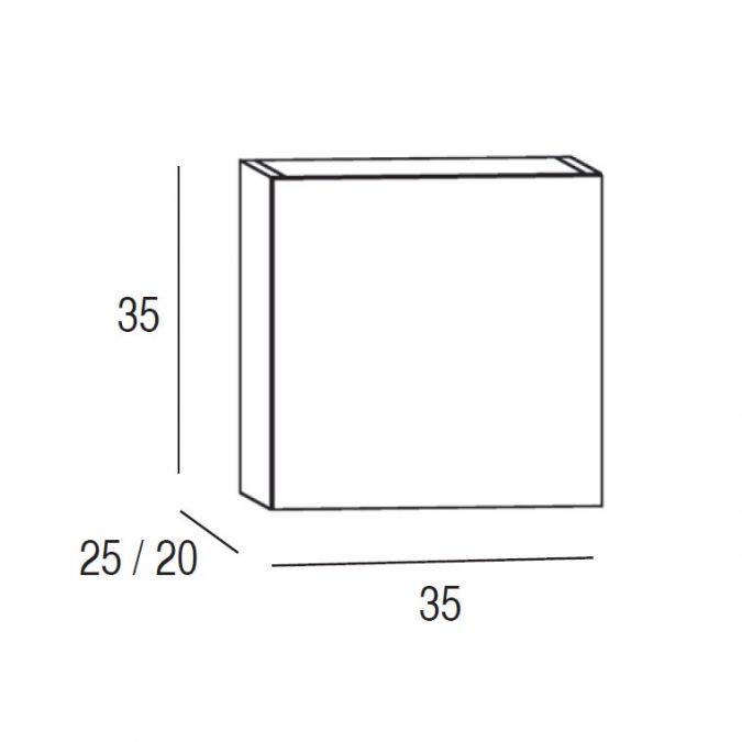 Medidas Mueble Auxiliar Baño de Colgar 35 cm. Active