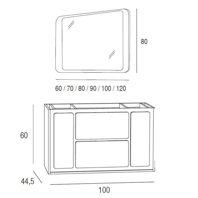 Medidas Mueble de Baño Active 100 x 45 cm.