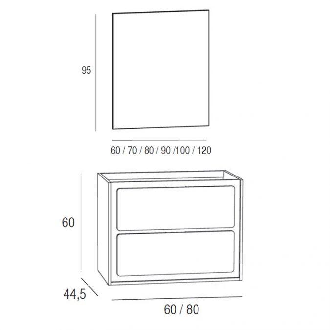 Medidas Mueble de Baño Active 80 x 45 cm.