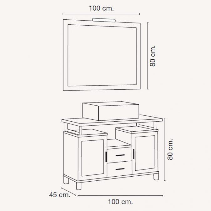 Medidas Mueble de Baño Alba de 100 x 45 cm.