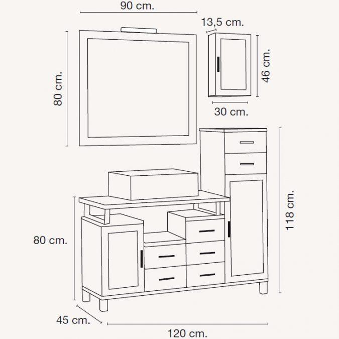 Medidas Mueble de Baño Alba de 120 x 45 cm.
