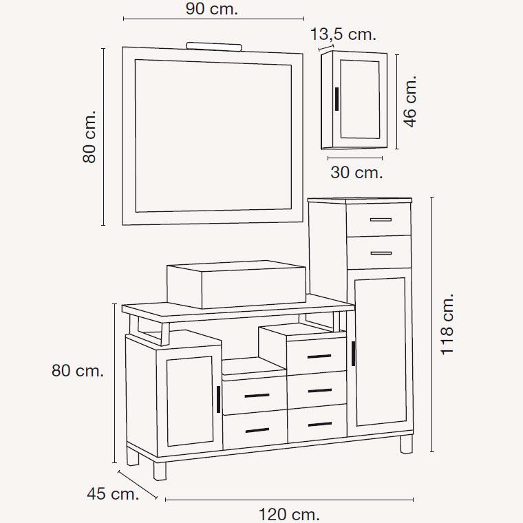 Mueble de Baño Alba de 120 x 45 cm. Muebles de Baño Alba.