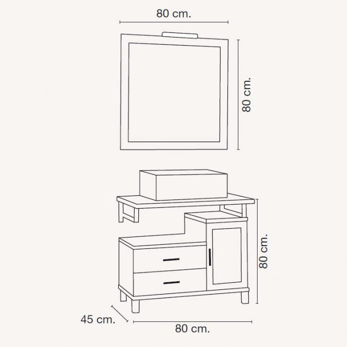Medidas Mueble de Baño Alba de 80 x 45 cm.