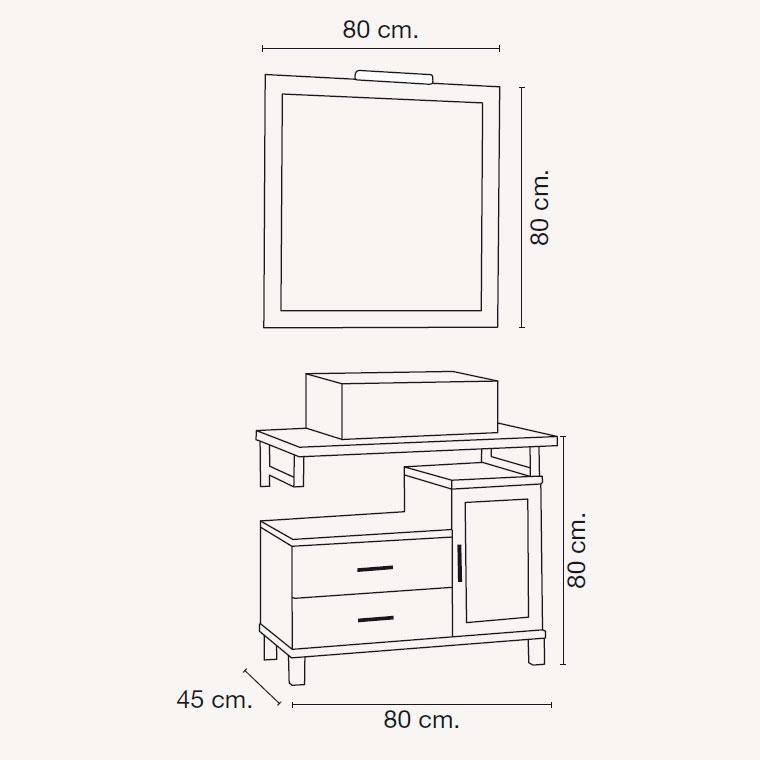 Medidas mueble de ba o alba de 80 x 45 cm for Medidas mueble bano