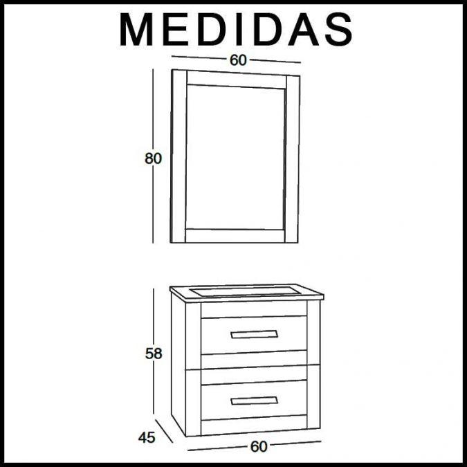 Medidas Mueble de Baño Anabel de 60 x 45 cm. Suspendido