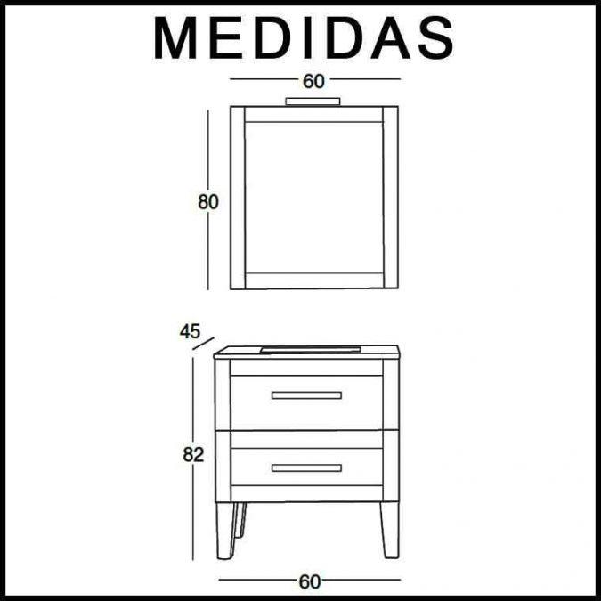 Mueble de Baño Anabel de 60 x 45 cm. Medidas
