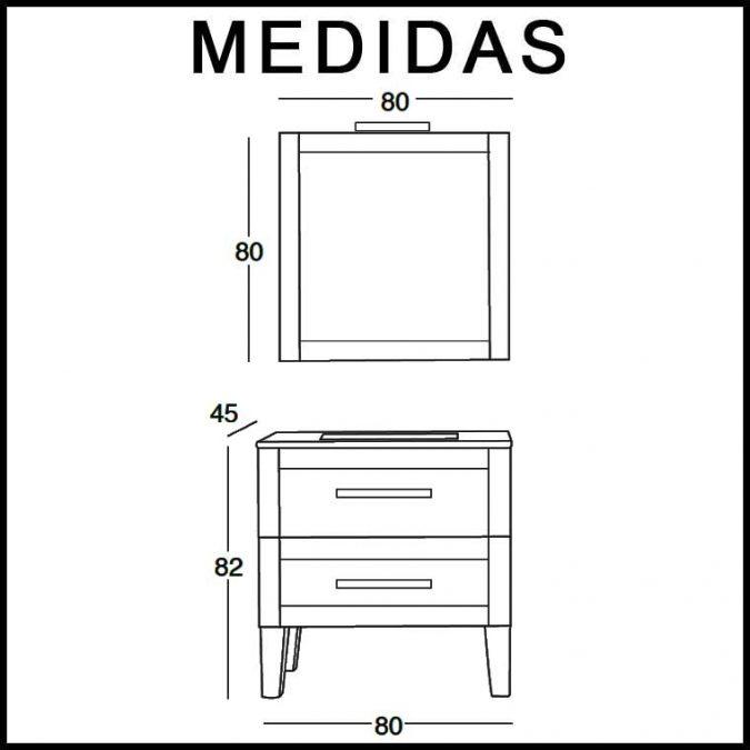 Mueble de Baño Anabel de 80 x 45 cm. Medidas