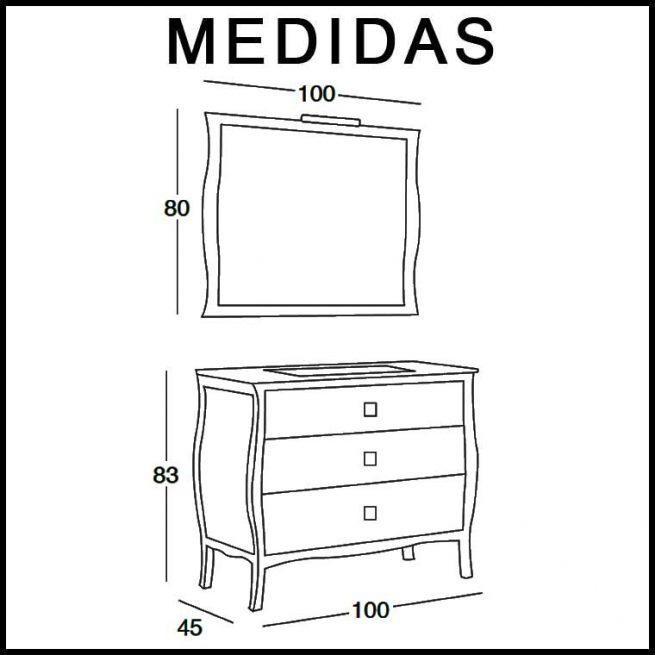 Medidas Mueble de Baño Araceli 100 cm.