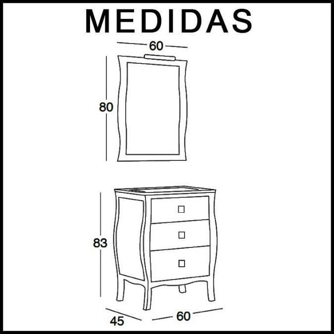 Medidas Mueble de Baño Araceli 60 cm.