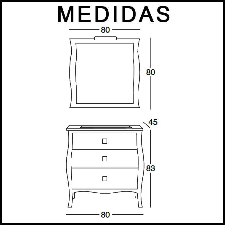 Medidas Mueble de Baño Araceli 80 cm.