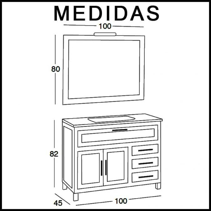 Medidas Mueble de Baño Beas 100 cm.