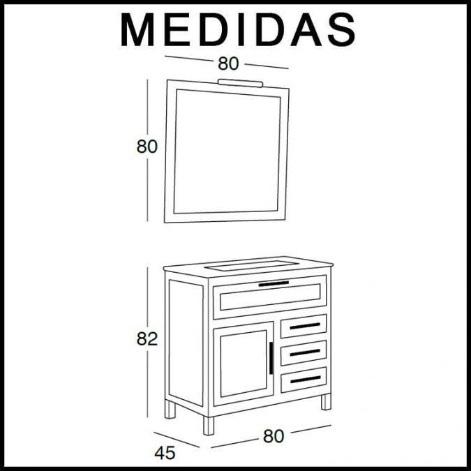 Medidas Mueble de Baño Beas de 80 cm.