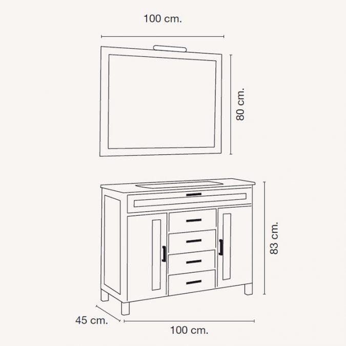 Medidas Mueble de Baño Borgia 100 x 45 cm.