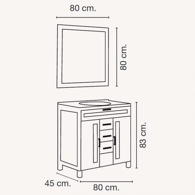 Medidas Mueble de Baño Borgia 80 x 45 cm.