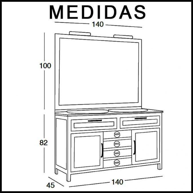 Medidas Mueble de Baño Cardeñas 140 x 45 cm.