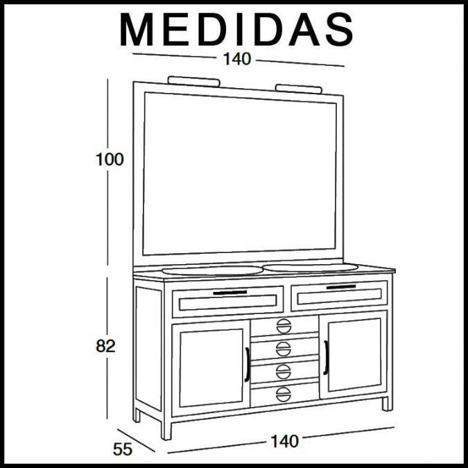Medidas Mueble de Baño Cardeñas 140 x 55 cm.