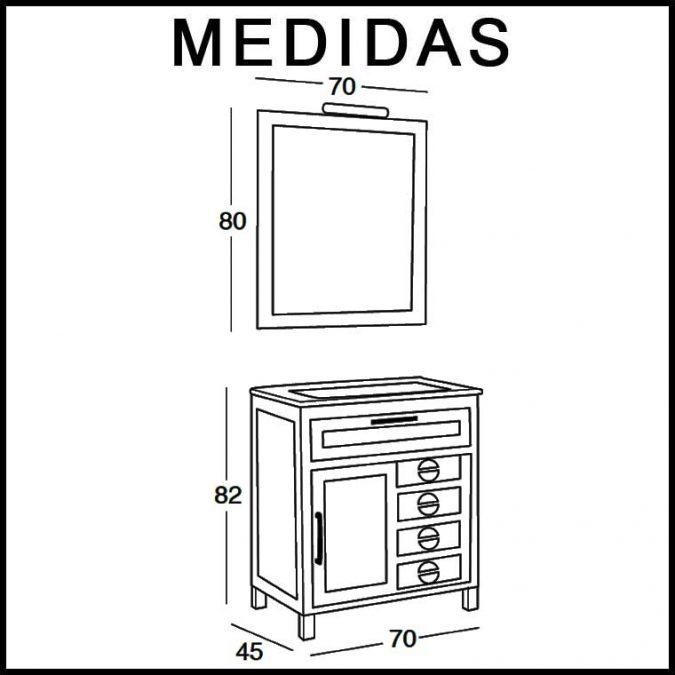 Medidas Mueble de Baño Cardeñas 70 cm.
