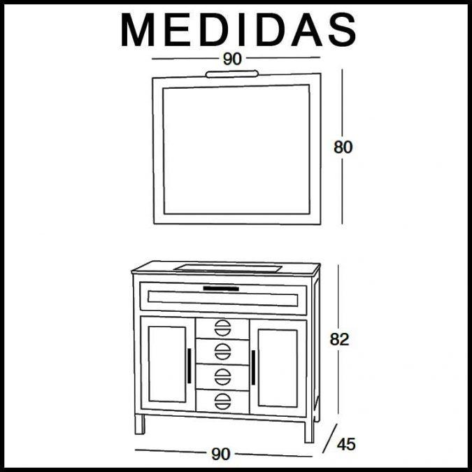 Medidas Mueble de Baño Cardeñas 90 cm.