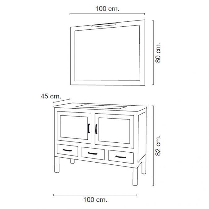 Medidas Mueble de Baño Clara 100 x 45 cm.