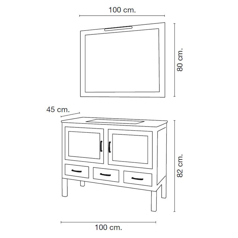 Mueble de ba o clara de 100 x 45 cm muebles de ba o clara for Banos completos medidas