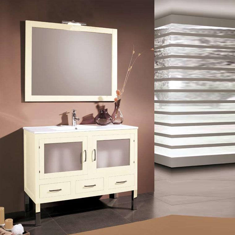 Mueble de ba o clara de 100 x 45 cm muebles de ba o clara for Mueble bano madera clara