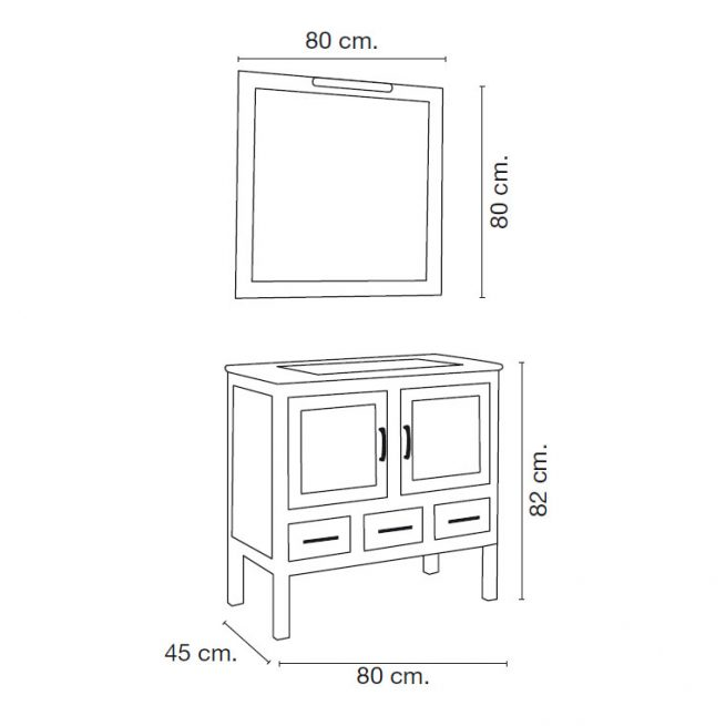 Medidas Mueble de Baño Clara 80 x 45 cm.