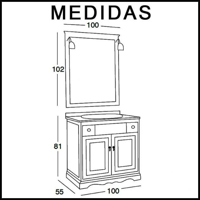 Medidas Mueble de Baño Clásic 100 x 55 cm.