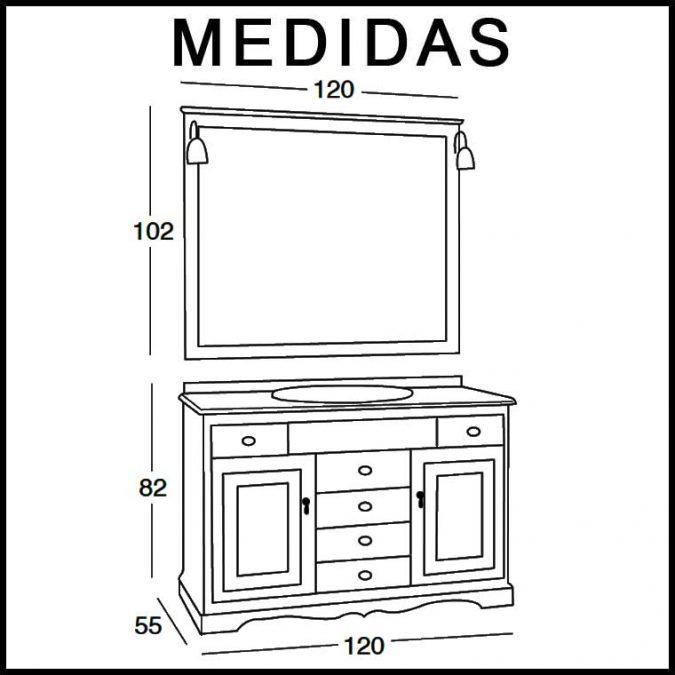 Medidas Mueble de Baño Clásic 120 x 55 cm.