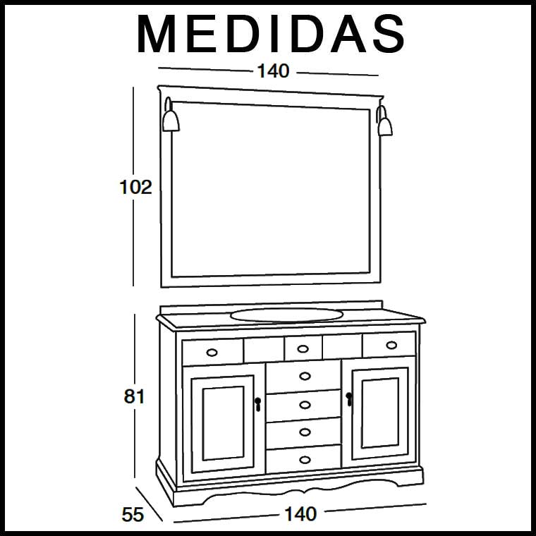 Mueble de ba o cl sic 140 x 55 cm mueble de la serie de for Medidas mueble bano