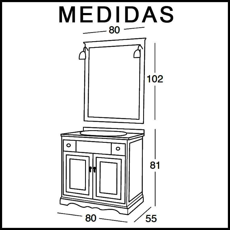 Medidas Mueble de Baño Clásic 80 x 55 cm.