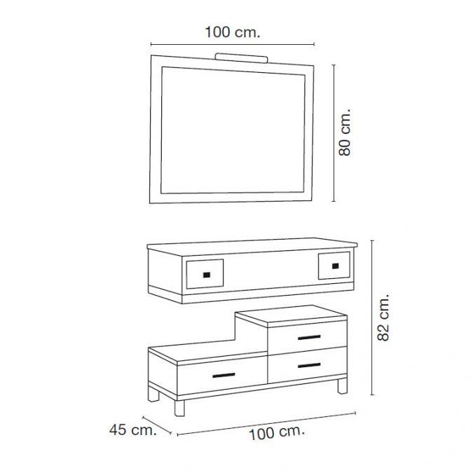Medidas Mueble de Baño Diana 100 x 45 cm.