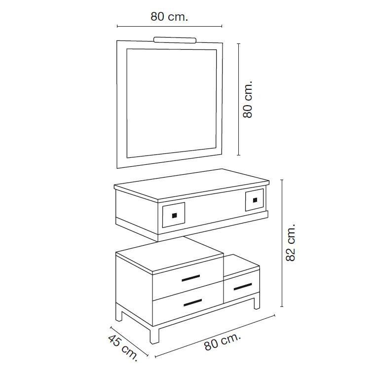 Medidas mueble de ba o diana 80 x 45 cm for Medidas mueble bano