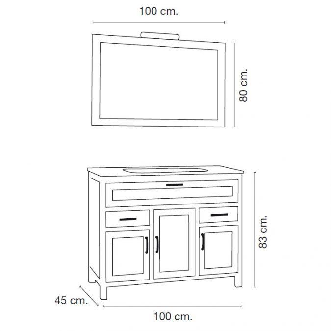 Medidas Mueble de Baño Fátima 100 x 45 cm.