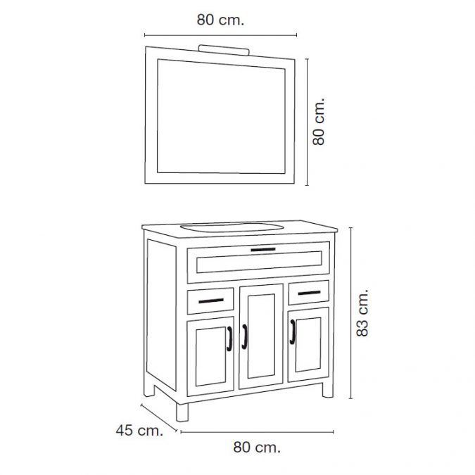 Medidas Mueble de Baño Fátima 80 x 45 cm.