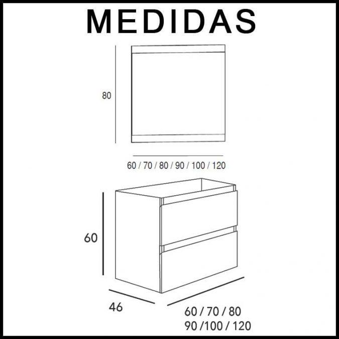 Medidas Muebles de Baño Kloe 2 Cajones