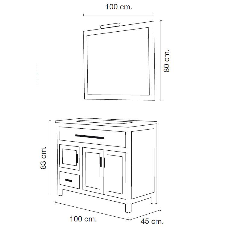Mueble de ba o laura 100 x 45 cm muebles de ba o laura - Medidas estandar de muebles de cocina ...