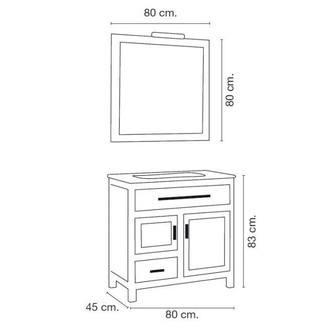 Medidas Mueble de Baño Laura 80 x 45 cm.