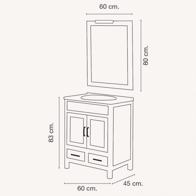 Medidas Mueble de Baño Leonor 60 x 45 cm.