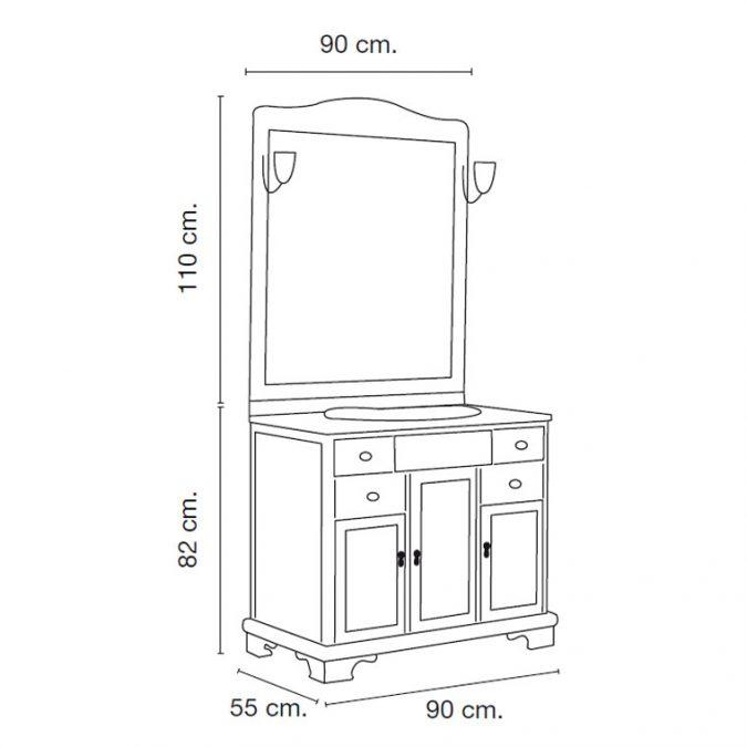 Medidas Mueble de Baño Lis 90 x 55 cm.