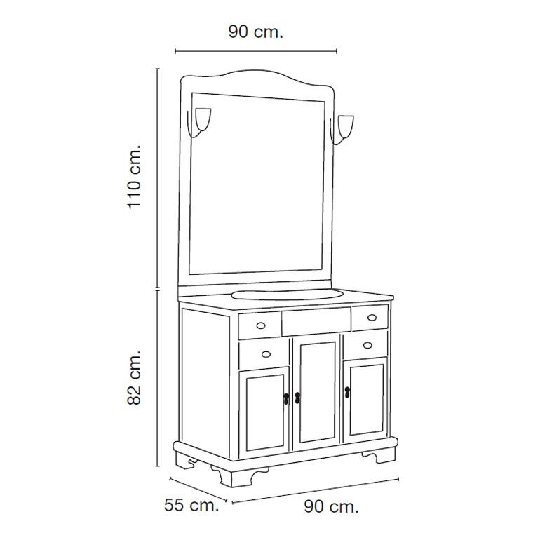 Mueble de ba o lis de 90 x 55 cm muebles de ba o lis for Medidas de muebles en planta