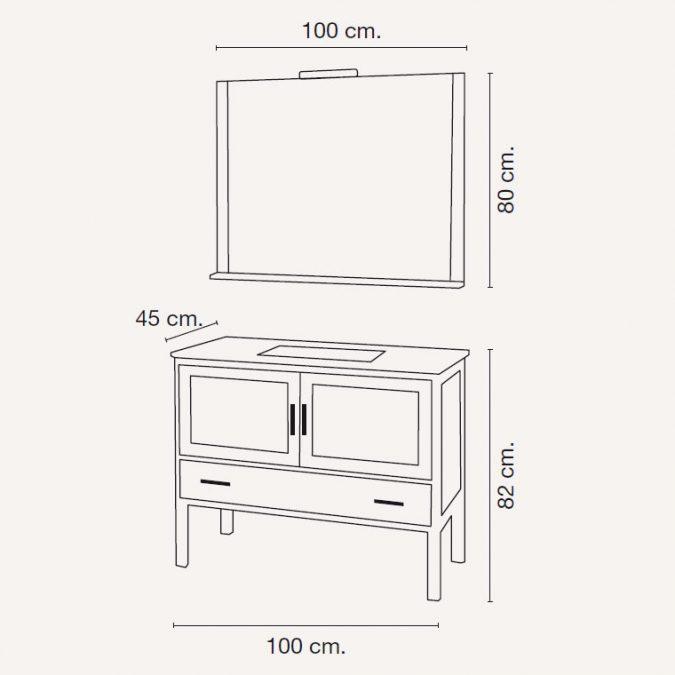Medidas Mueble de Baño Lucía 100 x 45 cm.