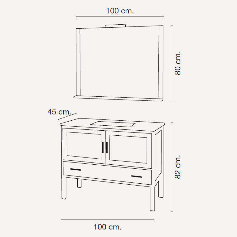 Mueble de ba o luc a de 100 x 45 cm muebles de ba o luc a for Mueble 45 cm ancho