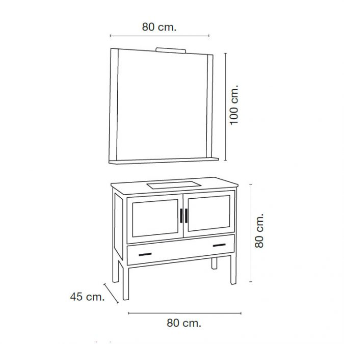 Medidas Mueble de Baño Lucía 80 x 45 cm.