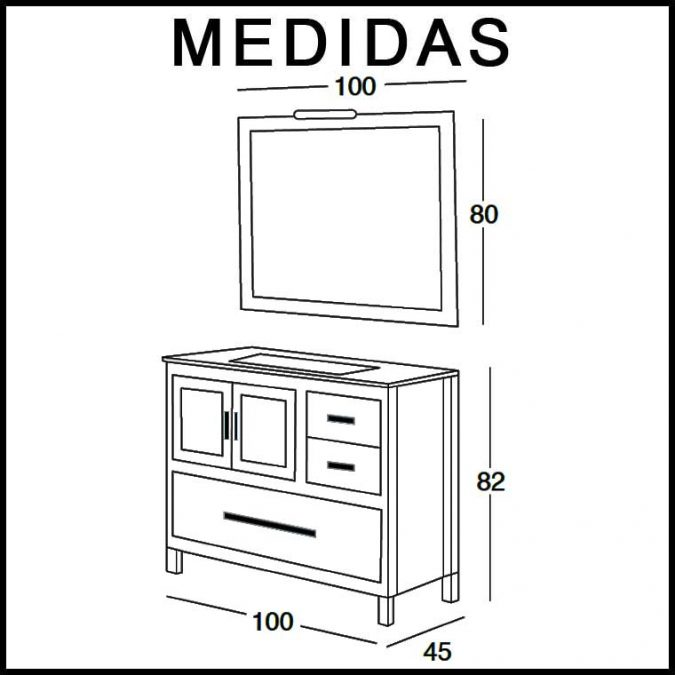Medidas Mueble de Baño Mar 100 cm.